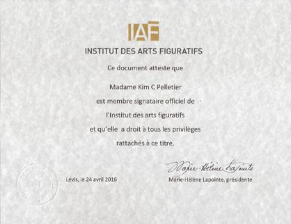 Kim C. Pelletier, Certificat Institut des Arts Figuratifs (IAF)